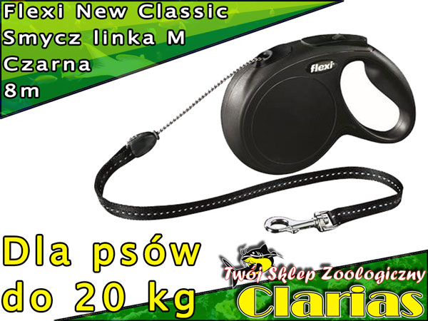 c1151a14c599c0 Flexi New Classic Smycz linka M 8m czarna do 20kg